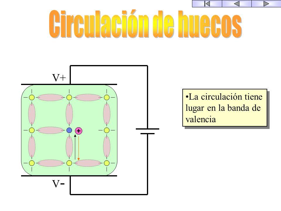 La circulación tiene lugar en la banda de conducción = Los conductores La circulación tiene lugar en la banda de conducción = Los conductores V+ V-V-