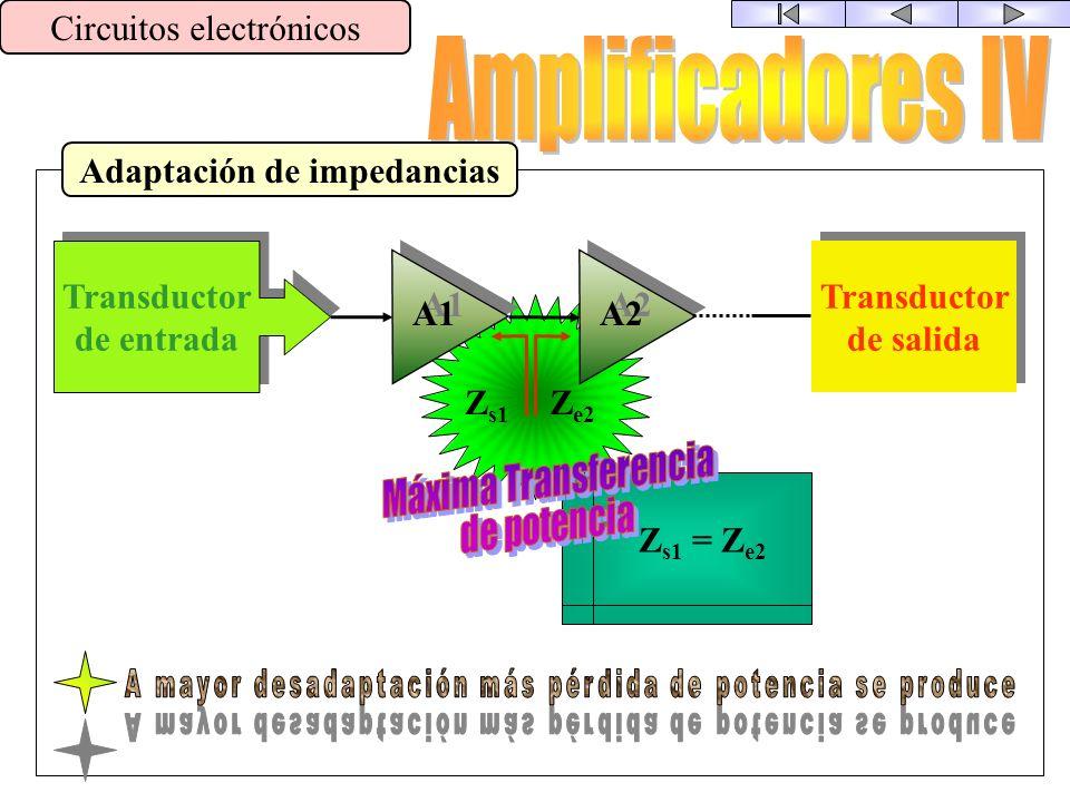Cadena de Amplificación Circuitos electrónicos Transductor de entrada Transductor de entrada A1 A2 Transductor de salida Transductor de salida Aunque