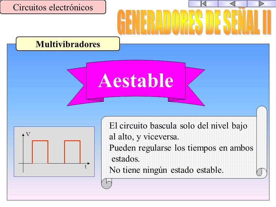 Tipos de Generadores Circuitos electrónicos Señal de entrada Oscilador V t Señal de salida senoidal
