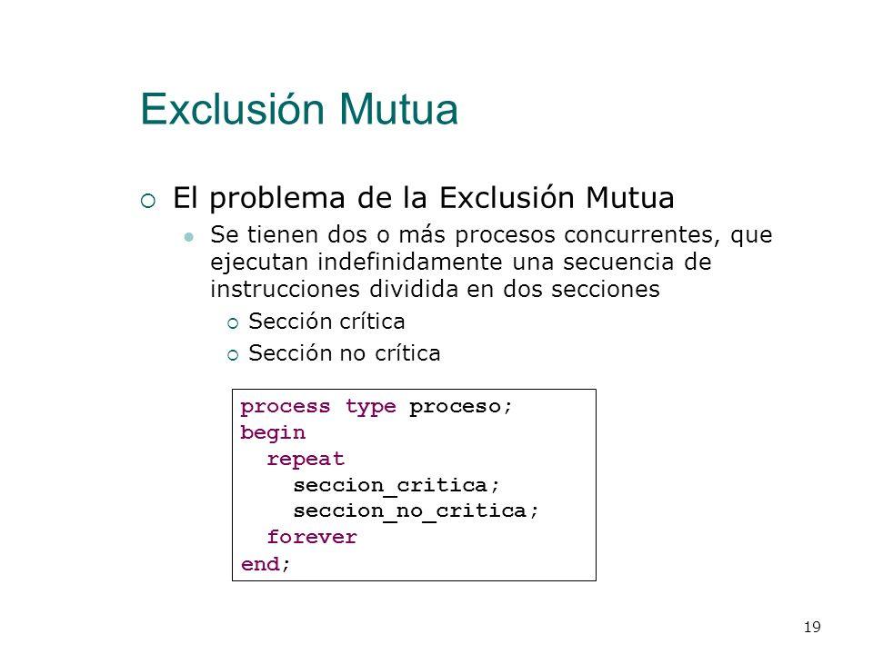 Exclusión Mutua ¿Qué es la Exclusión Mutua? Desde un punto de vista general la exclusión mutua se tiene cuando varios procesos compiten por un recurso