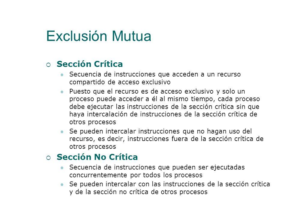 Exclusión Mutua El problema de la Exclusión Mutua Se tienen dos o más procesos concurrentes, que ejecutan indefinidamente una secuencia de instruccion