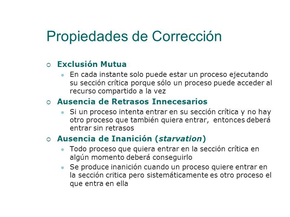 Propiedades de Corrección Pese a que pueda parecer sencillo, implementar correctamente un programa para El Problema de la Exclusión Mutua es complejo