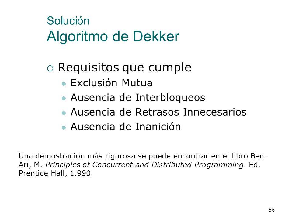 Solución Algoritmo de Dekker 55 type tControl = record p1p,p2p: boolean; turno: integer; end; process p1(var c: tControl); begin repeat (* Preprotocol