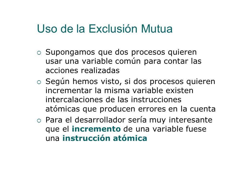 Uso de la Exclusión Mutua Una instrucción atómica es aquella que se ejecuta como una unidad indivisible El lenguaje de programación y el hardware defi