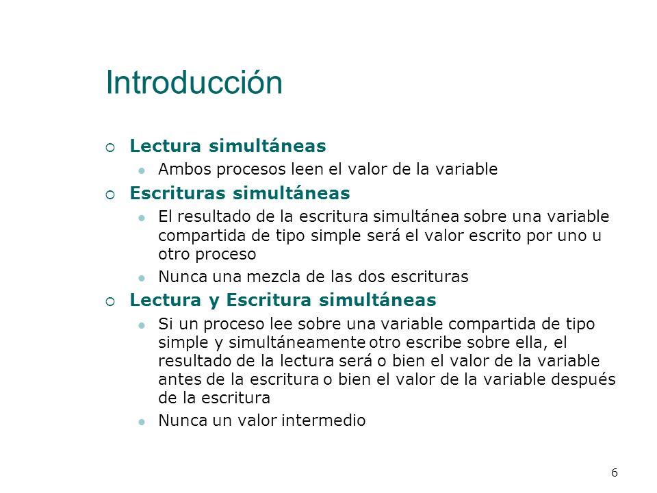 Introducción Modelo de Memoria Compartida La abstracción de la programación concurrente nos dice que hay que estudiar las intercalaciones de las instr