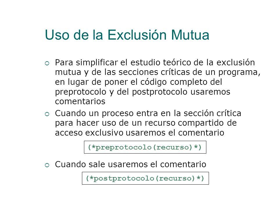 Uso de la Exclusión Mutua Se ha visto un algoritmo de Exclusión Mutua para dos procesos. El algoritmo de Lamport es un algoritmo que permite tener una