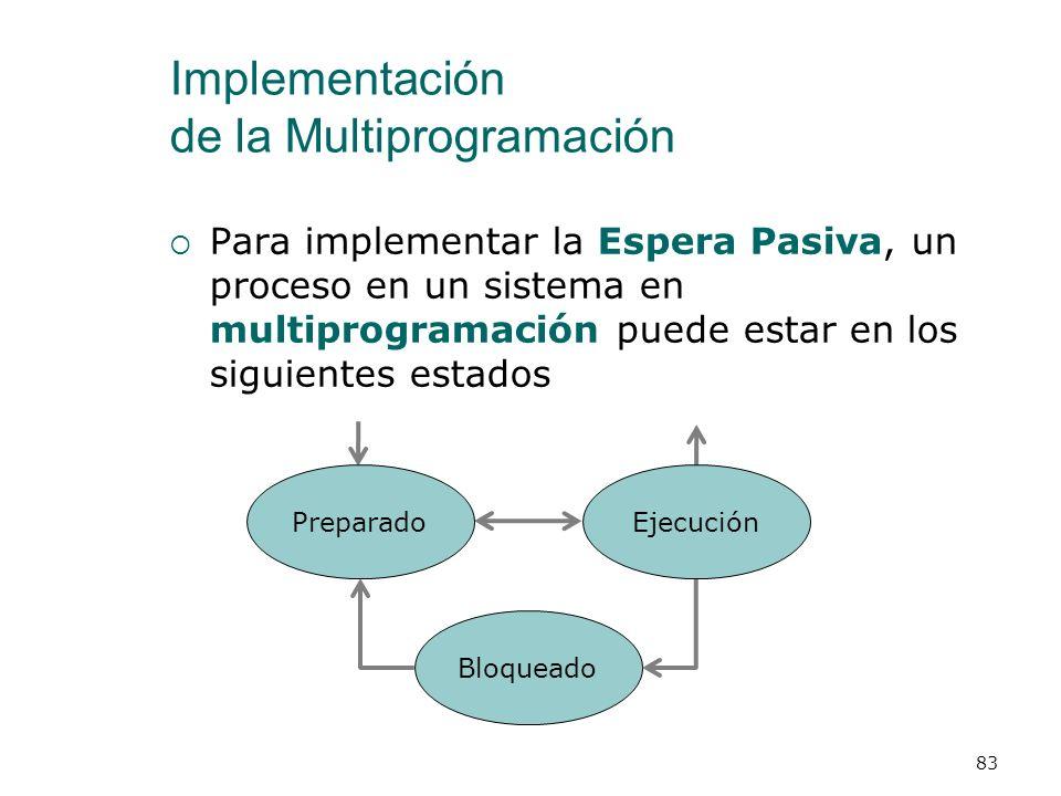 Implementación de la Multiprogramación Despacho (Dispatching) Configuración del procesador para que ejecute el proceso que ha determinado la planifica