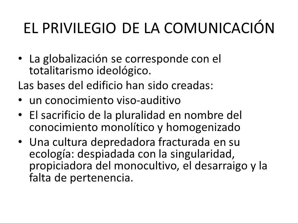 EL PRIVILEGIO DE LA COMUNICACIÓN La globalización se corresponde con el totalitarismo ideológico.