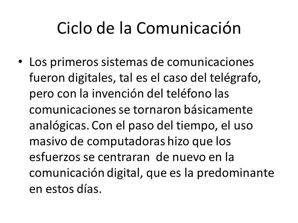 Ciclo de la Comunicación Los primeros sistemas de comunicaciones fueron digitales, tal es el caso del telégrafo, pero con la invención del teléfono las comunicaciones se tornaron básicamente analógicas.