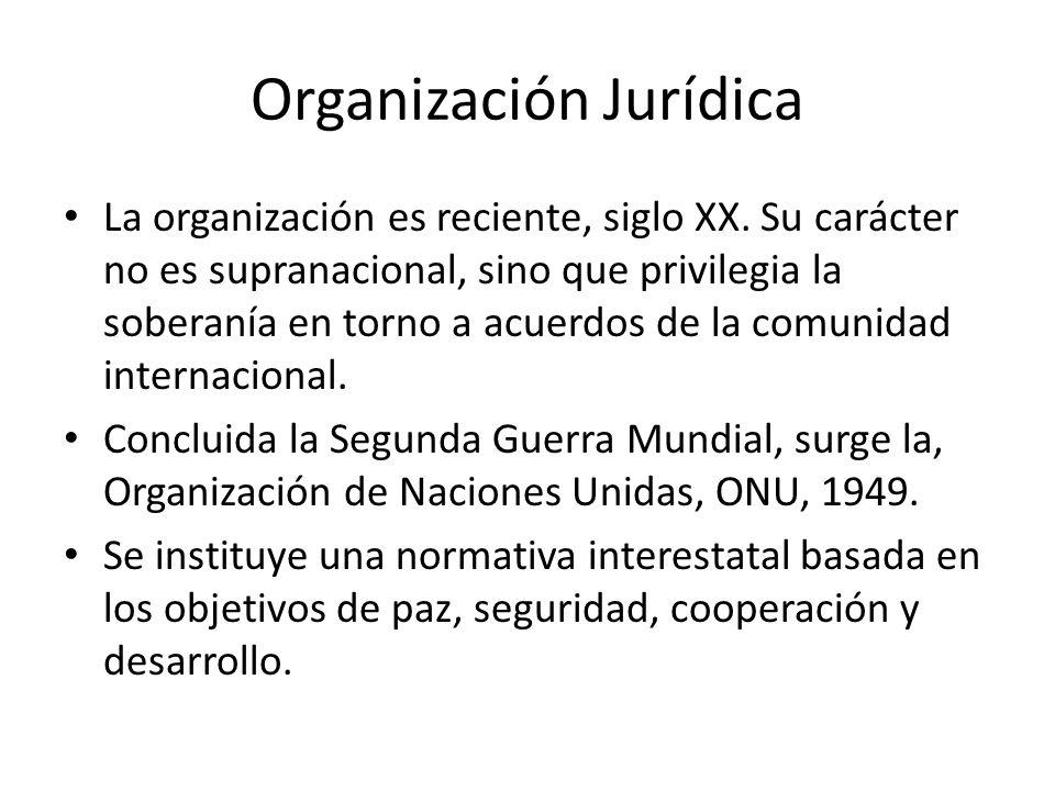 Organización Jurídica La organización es reciente, siglo XX. Su carácter no es supranacional, sino que privilegia la soberanía en torno a acuerdos de