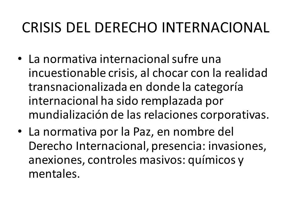 CRISIS DEL DERECHO INTERNACIONAL La normativa internacional sufre una incuestionable crisis, al chocar con la realidad transnacionalizada en donde la