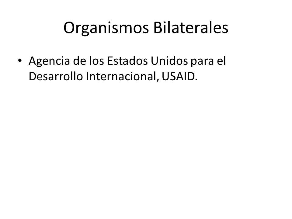 Organismos Bilaterales Agencia de los Estados Unidos para el Desarrollo Internacional, USAID.