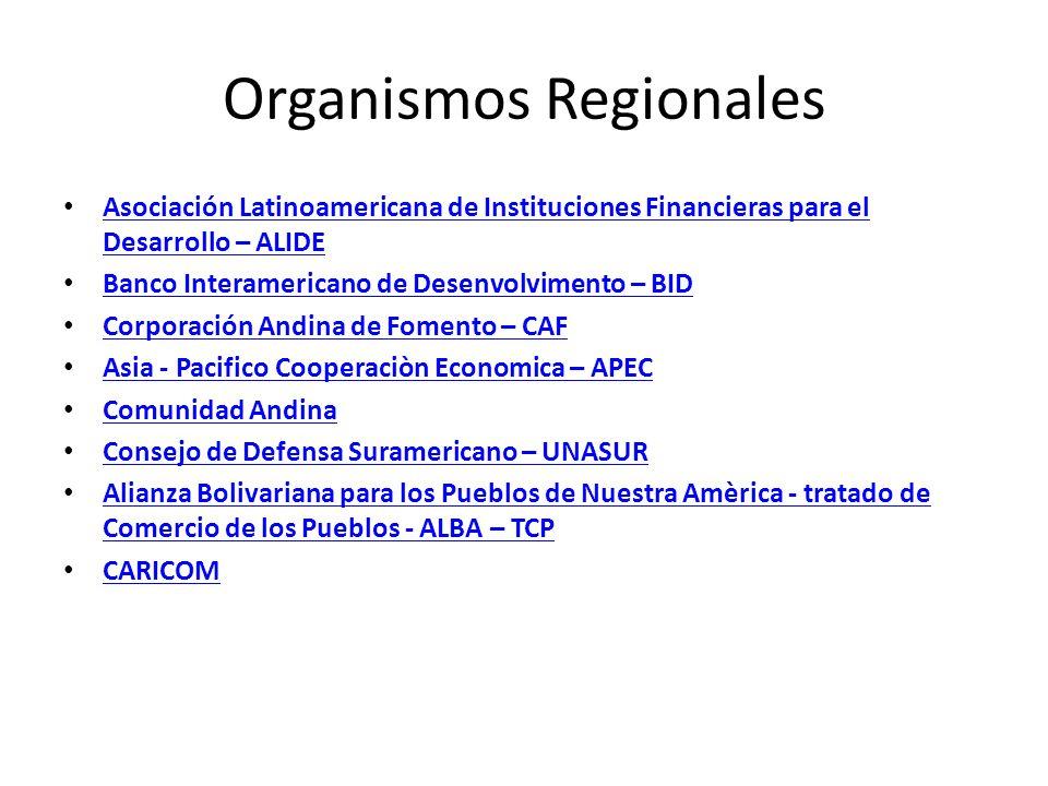 Organismos Regionales Asociación Latinoamericana de Instituciones Financieras para el Desarrollo – ALIDE Asociación Latinoamericana de Instituciones F