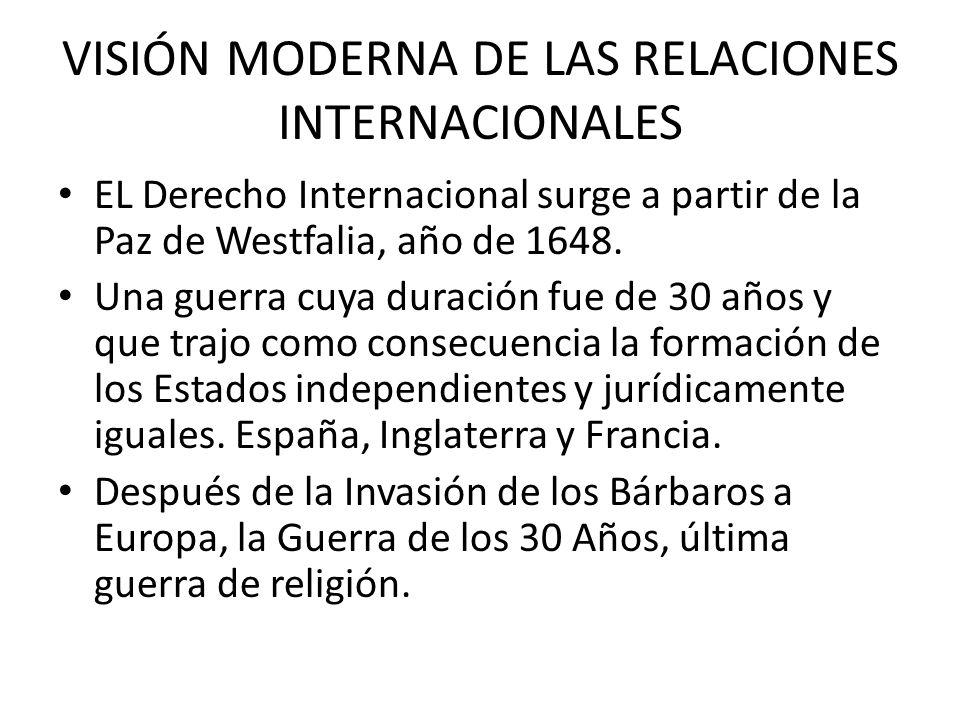VISIÓN MODERNA DE LAS RELACIONES INTERNACIONALES EL Derecho Internacional surge a partir de la Paz de Westfalia, año de 1648. Una guerra cuya duración