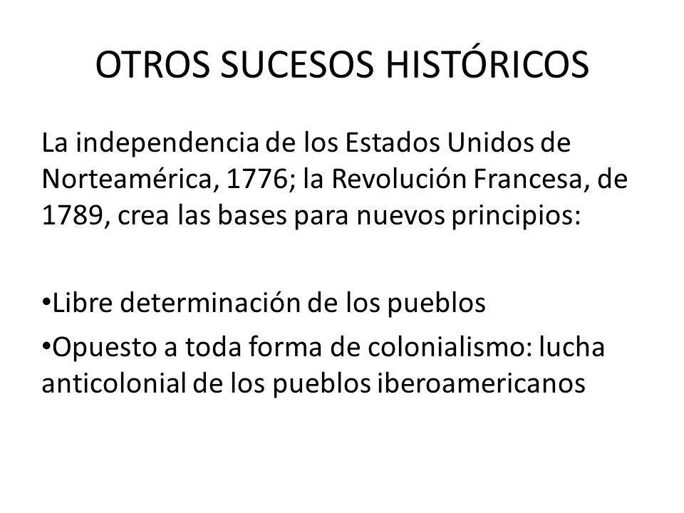 OTROS SUCESOS HISTÓRICOS La independencia de los Estados Unidos de Norteamérica, 1776; la Revolución Francesa, de 1789, crea las bases para nuevos pri