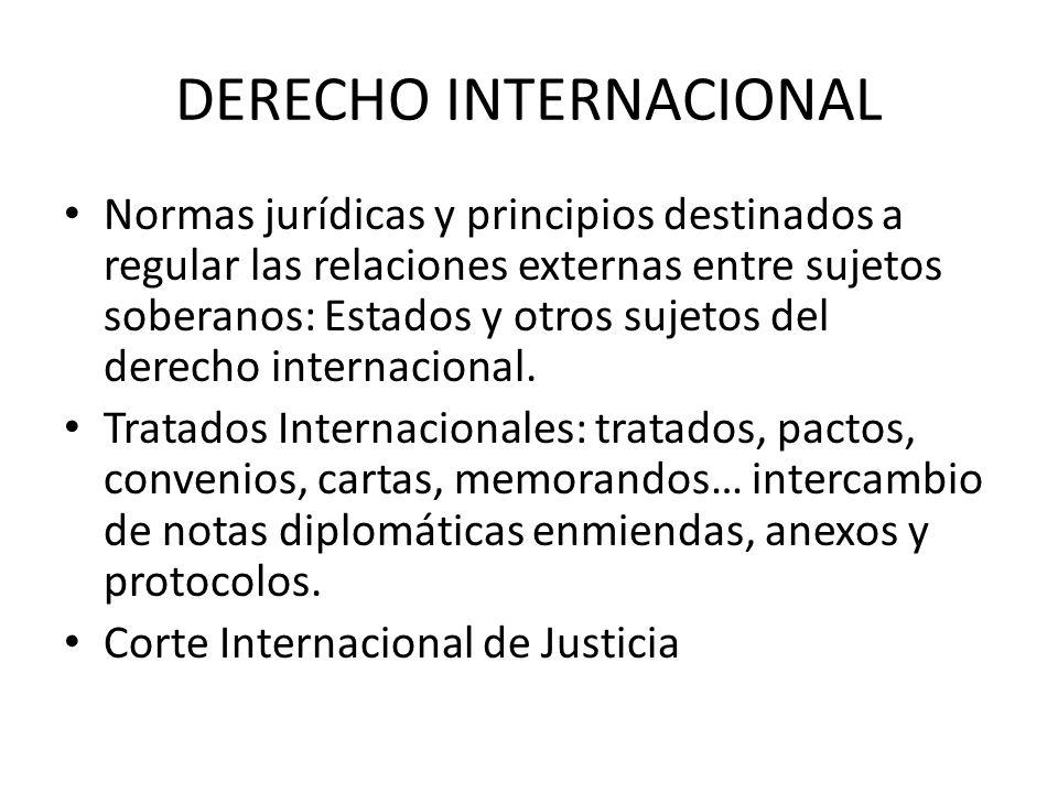 DERECHO INTERNACIONAL Normas jurídicas y principios destinados a regular las relaciones externas entre sujetos soberanos: Estados y otros sujetos del