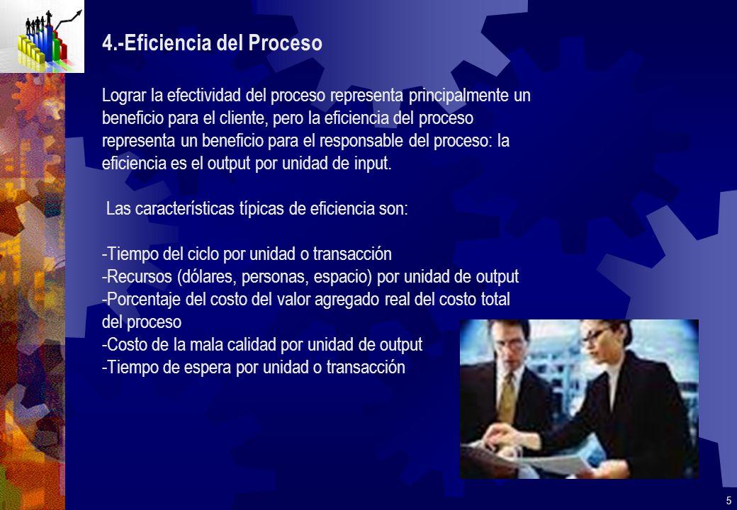 4.-Eficiencia del Proceso Lograr la efectividad del proceso representa principalmente un beneficio para el cliente, pero la eficiencia del proceso rep