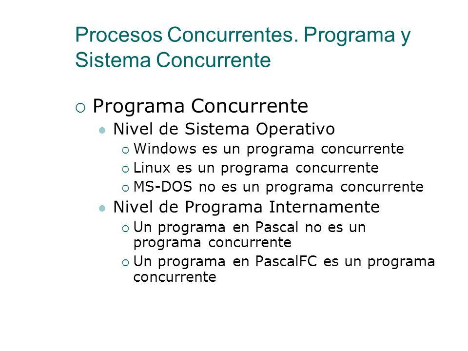 Procesos Concurrentes. Programa y Sistema Concurrente Programa Concurrente Conjunto de varios programas secuenciales, cuyos procesos pueden ejecutarse