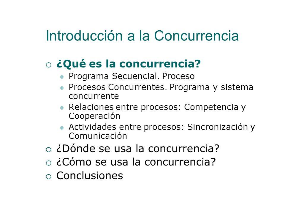 Actividades entre procesos: Sincronización y Comunicación La competencia y la cooperación son relaciones de interacción entre procesos Se llevan a cabo a través de las siguientes actividades Comunicación Sincronización Sincronización condicional Exclusión mutua