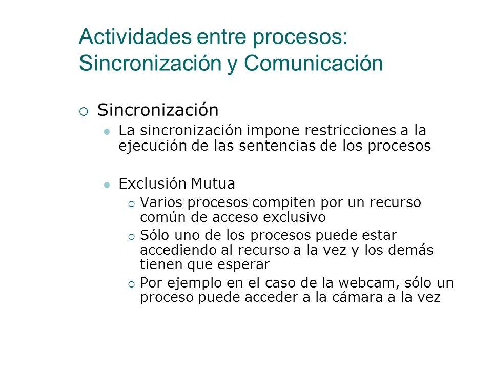 Actividades entre procesos: Sincronización y Comunicación Sincronización La sincronización impone restricciones a la ejecución de las sentencias de lo
