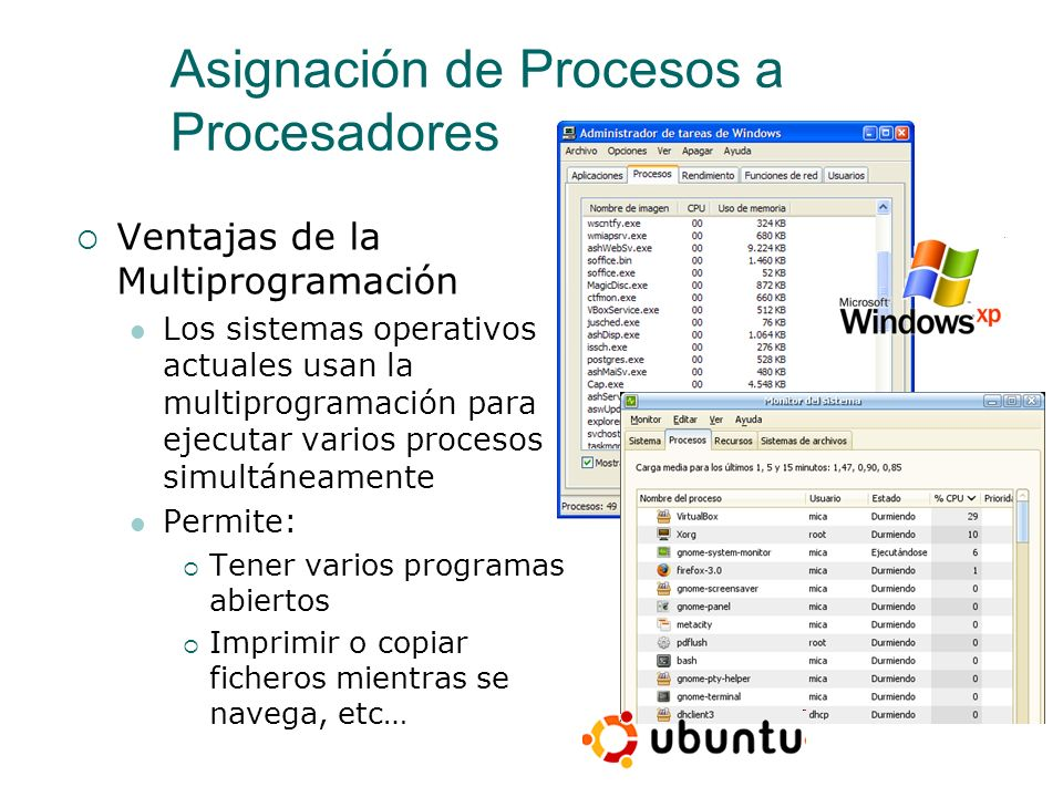 Asignación de Procesos a Procesadores Ventajas de la Multiprogramación Aprovecha mejor el procesador en procesos que se quedan esperando Un proceso se