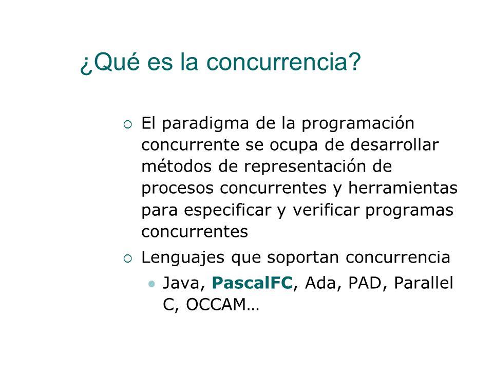 PascalFC Para estudiar el desarrollo de programas concurrentes vamos a usar PascalFC Es un lenguaje de programación basado en una simplificación de Pascal Está orientado a la enseñanza de la concurrencia Desarrollado por Alan Burns and Geoff Davies en la Universidad de York http://www-users.cs.york.ac.uk/~burns/pf.html PascalFC está incluido en EclipseGavab http://www.gavab.es/eclipse