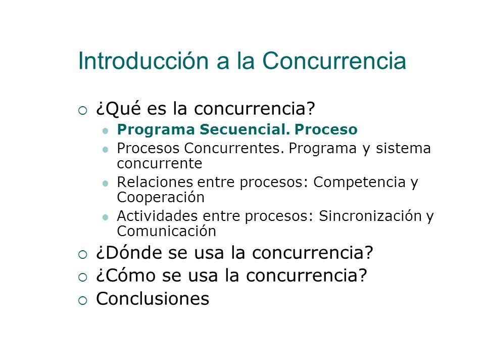Interacción entre procesos: Sincronización y Comunicación Relaciones entre procesos Competencia Cooperación Actividades entre procesos Sincronización Comunicación Sincronización Condicional Exclusión Mutua Se lleva a cabo mediante A veces necesita Hay diferentes tipos