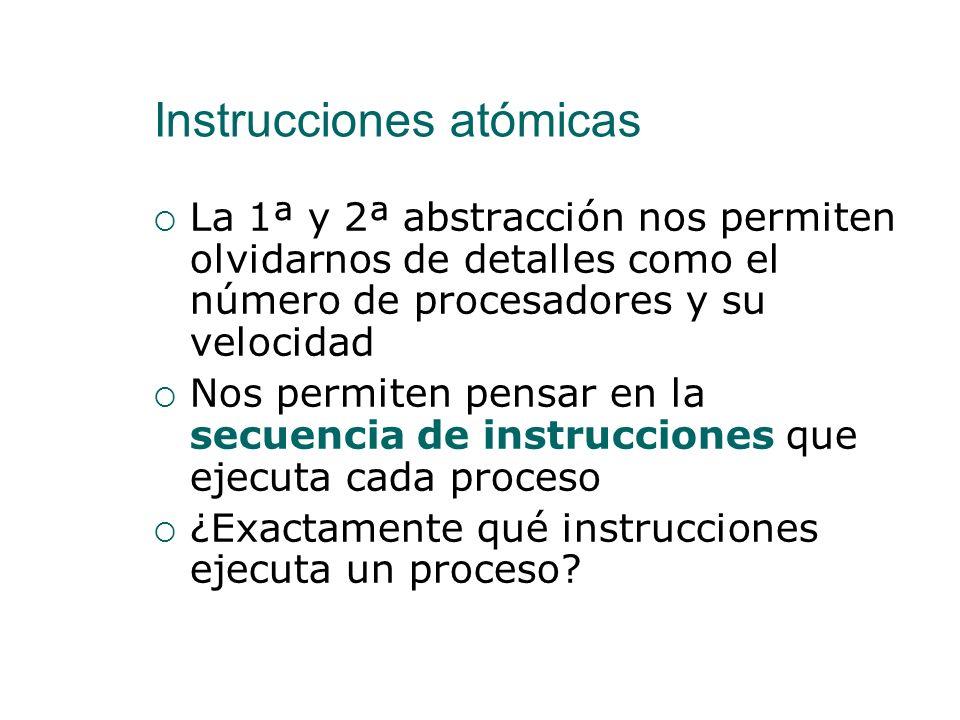 Instrucciones atómicas 1ª Abstracción de la Programación Concurrente Se considera que cada proceso se ejecuta en su propio procesador 2ª Abstracción d