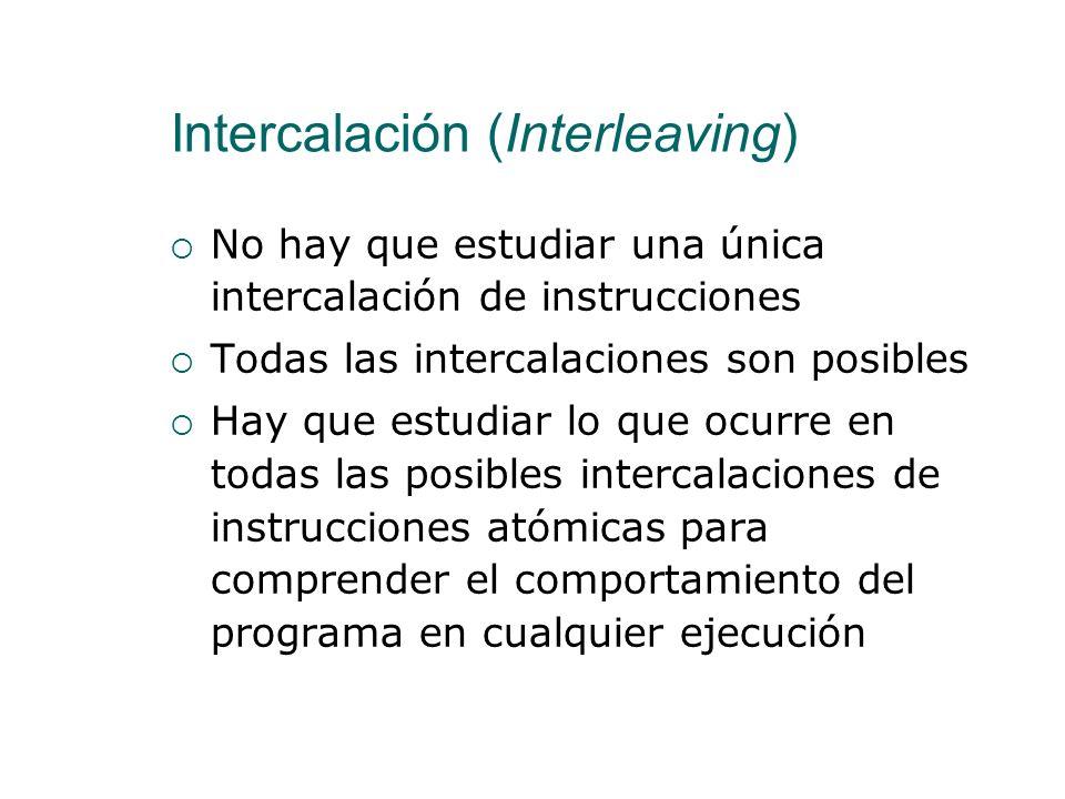 Intercalación (Interleaving) No hay solapamientos La ejecución de dos instrucciones atómicas en paralelo tiene los mismos resultados que una después d