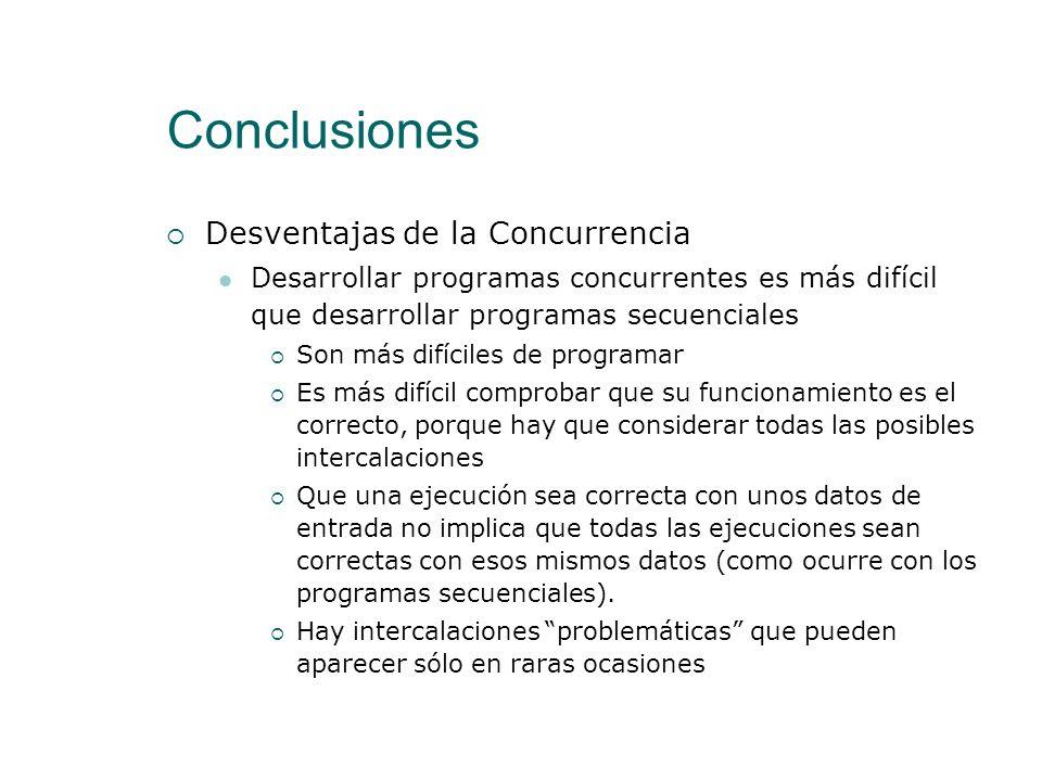 Conclusiones Ventajas de la Concurrencia La tendencia actual para aumentar la potencia de cómputo de los sistemas informáticos consiste en la creación