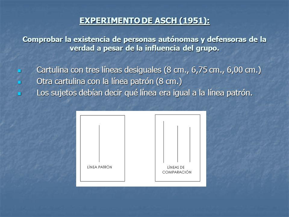 EXPERIMENTO DE ASCH (1951): Comprobar la existencia de personas autónomas y defensoras de la verdad a pesar de la influencia del grupo. Cartulina con