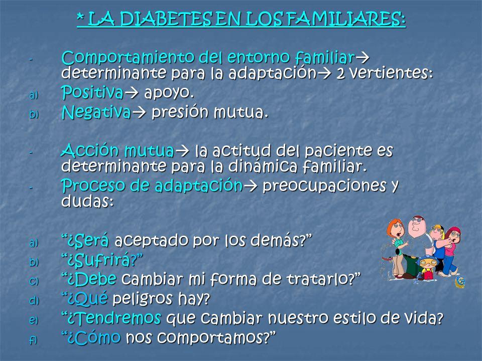 * LA DIABETES EN LOS FAMILIARES: - Comportamiento del entorno familiar determinante para la adaptación 2 vertientes: a) Positiva apoyo. b) Negativa pr