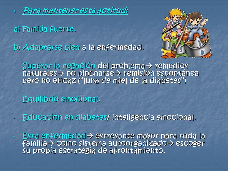 Para mantener esta actitud: Para mantener esta actitud: a) Familia fuerte. b) Adaptarse bien a la enfermedad. - Superar la negación del problema remed