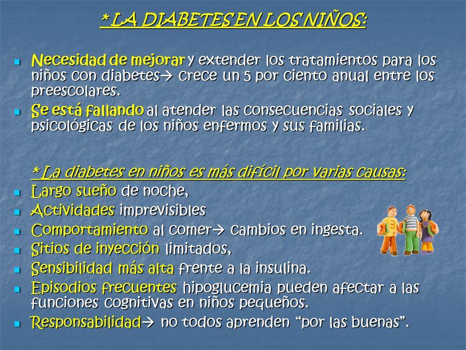 * LA DIABETES EN LOS NIÑOS: Necesidad de mejorar y extender los tratamientos para los niños con diabetes crece un 5 por ciento anual entre los preesco