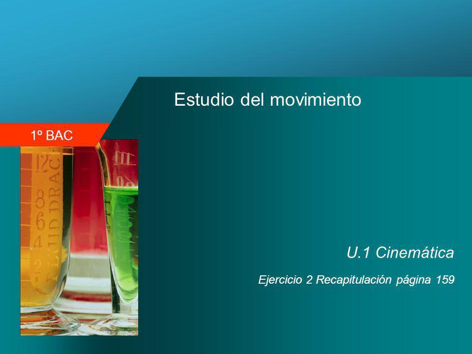 1º BAC Estudio del movimiento U.1 Cinemática Ejercicio 2 Recapitulación página 159