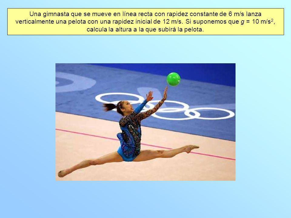 Una gimnasta que se mueve en línea recta con rapidez constante de 6 m/s lanza verticalmente una pelota con una rapidez inicial de 12 m/s. Si suponemos