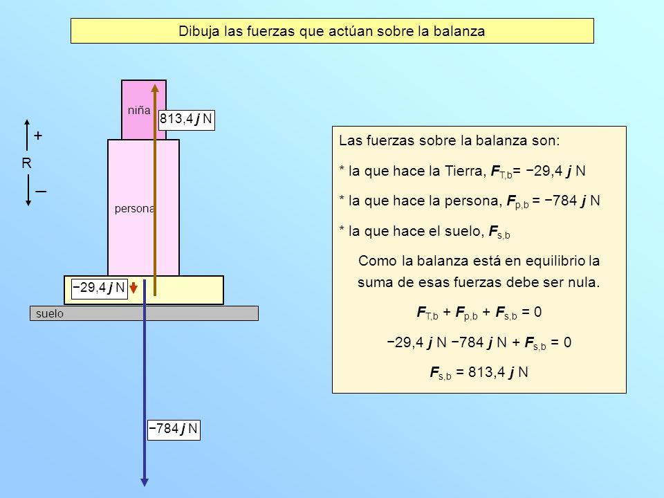 Dibuja las fuerzas que actúan sobre la balanza Las fuerzas sobre la balanza son: * la que hace la Tierra, F T,b = 29,4 j N * la que hace la persona, F p,b = 784 j N * la que hace el suelo, F s,b Como la balanza está en equilibrio la suma de esas fuerzas debe ser nula.