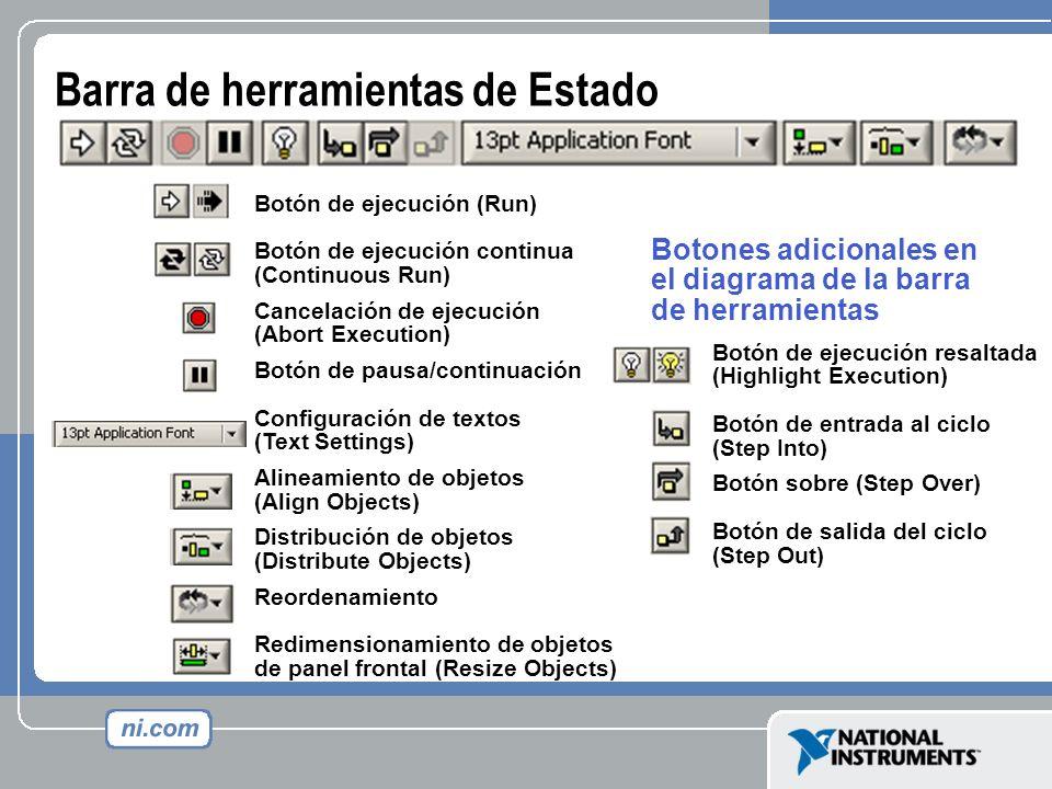 Botón de ejecución (Run) Botón de ejecución continua (Continuous Run) Cancelación de ejecución (Abort Execution) Botón de pausa/continuación Configura
