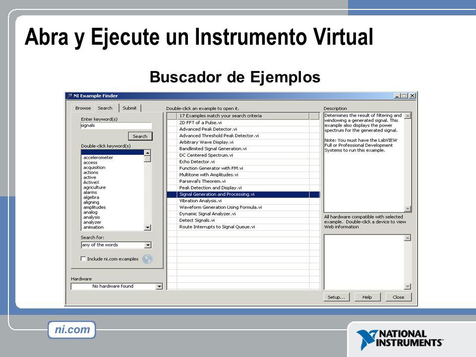 Abra y Ejecute un Instrumento Virtual Buscador de Ejemplos
