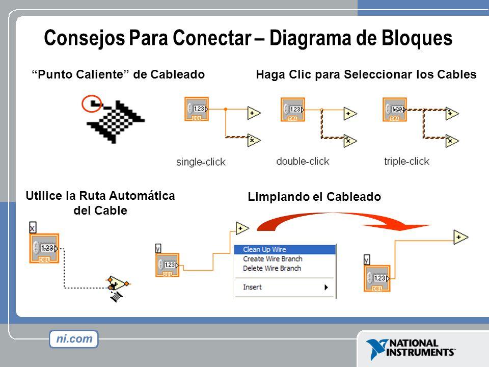 Consejos Para Conectar – Diagrama de Bloques Punto Caliente de Cableado Limpiando el Cableado Utilice la Ruta Automática del Cable Haga Clic para Sele