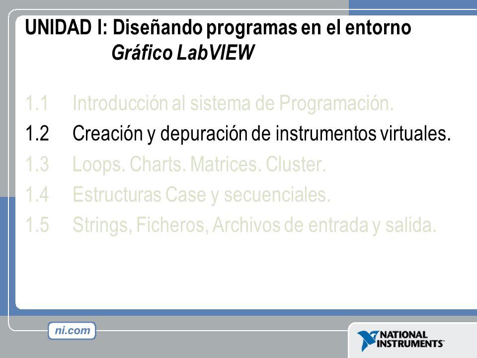 UNIDAD I: Diseñando programas en el entorno Gráfico LabVIEW 1.1Introducción al sistema de Programación. 1.2Creación y depuración de instrumentos virtu