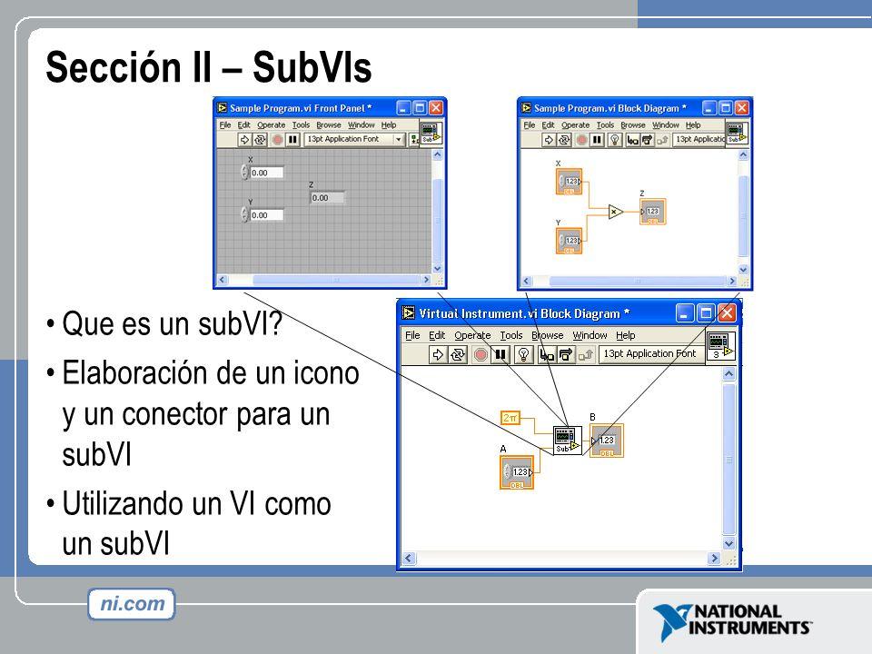 Sección II – SubVIs Que es un subVI? Elaboración de un icono y un conector para un subVI Utilizando un VI como un subVI