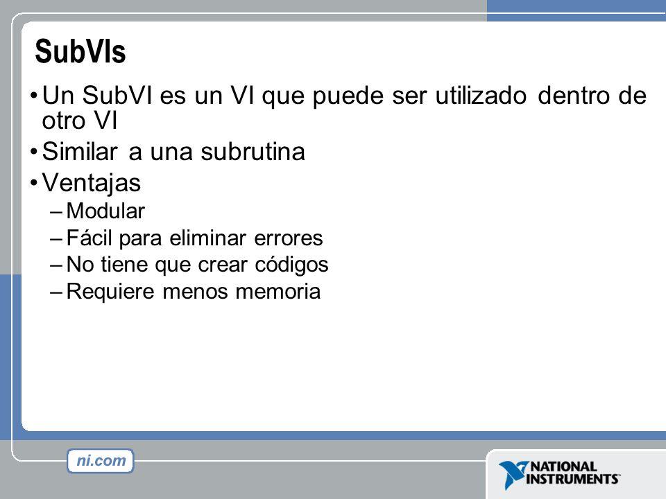 SubVIs Un SubVI es un VI que puede ser utilizado dentro de otro VI Similar a una subrutina Ventajas –Modular –Fácil para eliminar errores –No tiene qu