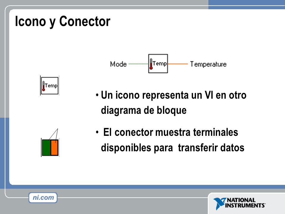 Icono y Conector Un icono representa un VI en otro diagrama de bloque El conector muestra terminales disponibles para transferir datos Icon Connector