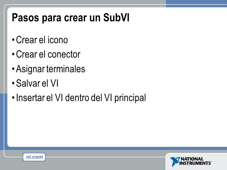 Pasos para crear un SubVI Crear el icono Crear el conector Asignar terminales Salvar el VI Insertar el VI dentro del VI principal