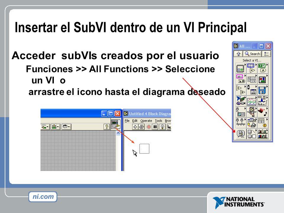 Insertar el SubVI dentro de un VI Principal Acceder subVIs creados por el usuario Funciones >> All Functions >> Seleccione un VI o arrastre el icono h