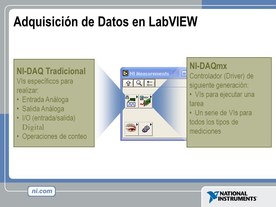 Adquisición de Datos en LabVIEW NI-DAQ Tradicional VIs específicos para realizar: Entrada Análoga Salida Análoga I/O (entrada/salida) Digital Operacio
