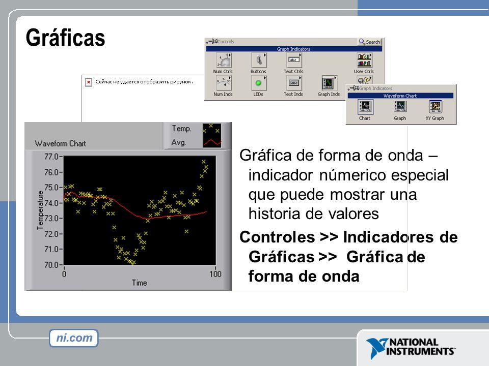 Gráficas Gráfica de forma de onda – indicador númerico especial que puede mostrar una historia de valores Controles >> Indicadores de Gráficas >> Gráf