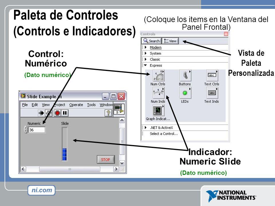 Paleta de Controles (Controls e Indicadores) (Coloque los items en la Ventana del Panel Frontal) Indicador: Numeric Slide Control: Numérico Vista de P