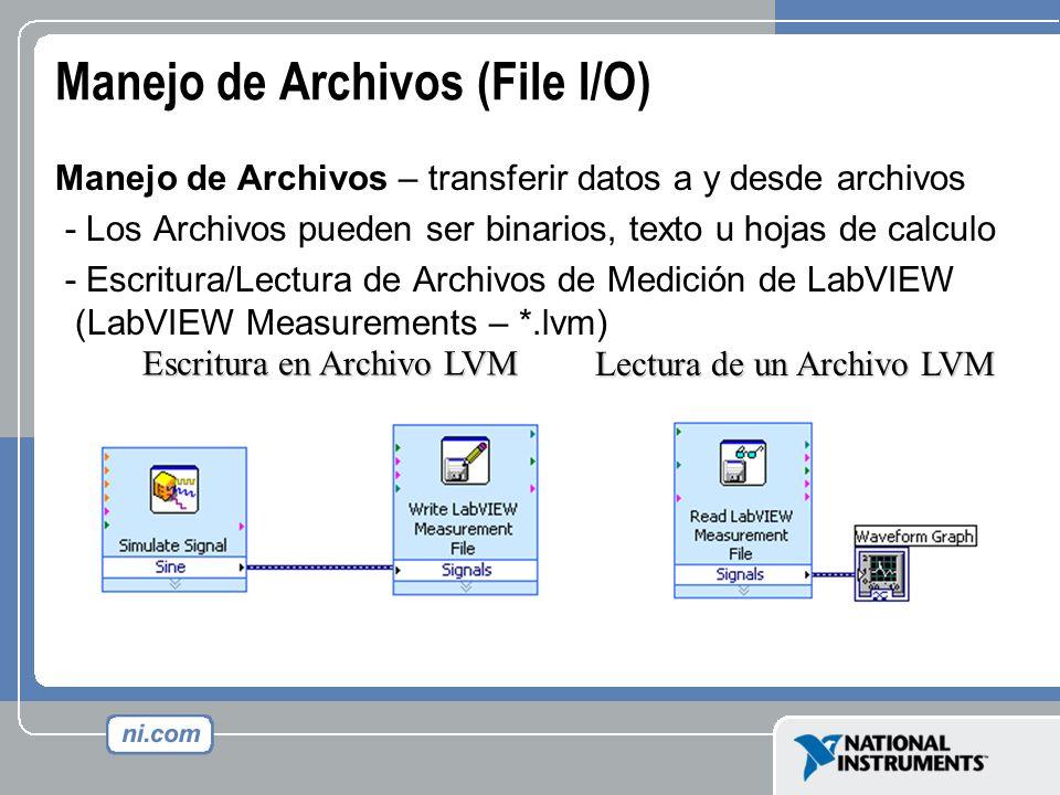 Manejo de Archivos (File I/O) Manejo de Archivos – transferir datos a y desde archivos - Los Archivos pueden ser binarios, texto u hojas de calculo -